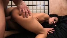Skinny brunette Lou Charmelle has her man licking and banging her twat