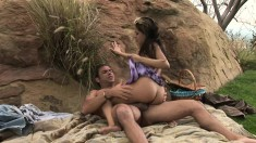 Horny August is eager to bounce on a massive beaver basher outdoors