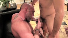 Antonio Biaggi and Chad Brock engage in bareback sex and cum together