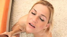 Cute blonde McKenzee Miles has her lips working their magic on a dick