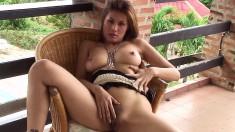 Irresistible Kat Naponya squeezes her big hooters and fingers her twat