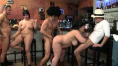 Big fatties closed down the bar for a sex party of hard thumping