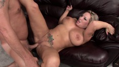 Smoking hot blonde shows off her huge tits while getting nailed