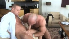 Lustful bear daddy plays out his sexual fantasies with his gay lover