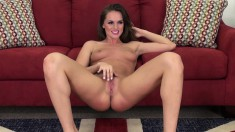 Sultry babe with perfect tits and sexy long legs Tori pleases herself
