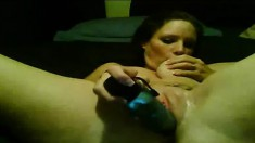 Gorgeous amateur with big boobs drills her fiery holes with sex toys