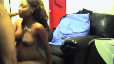 Pregnant ebony gets a case of the hornies and blows before he drills her