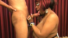 Curvy ebony girl moves her panties to the side and fucks a black dick