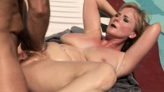 Sultry blonde mom with big hooters feeds her hunger for cock outside