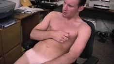 Attractive office stud Trent jerks off his long prick for the camera