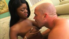 Bodacious black teen beauty reaches her pleasure on a big white cock