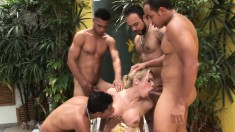 Buxom shemale hooker has four hung Latinos hammering her narrow butt