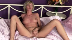 Provoking Blonde With Nice Boobs Fists Her Tight Honey Hole On The Bed