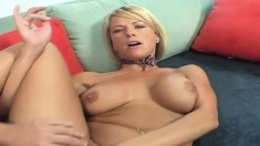 Stacked blonde cougar with a splendid ass Kayla Synz fucks a big shaft
