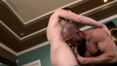 Horny gay lovers exchange oral pleasures and enjoy some hard anal sex