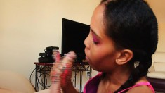 Pigtailed black girl with great handjob talents begs for a huge facial