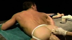 Wild hunk has his wonderful gay lover stretching his sweet anal hole