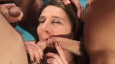 Wild girls Aurora Snow and Cheryll take on a gang of throbbing dicks