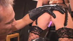 Striking Blonde In Sexy Black Lingerie Gets Shocked And Drilled Rough