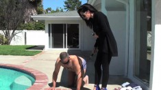 Chick In Blue High Heels Makes Her Slave Bend Over And Steps On His Neck
