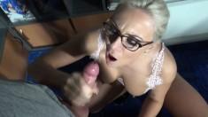 Beautiful Amateur Blonde Blows Cock