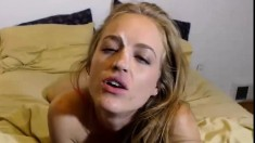 Blonde Gives An Interracial Blowjob