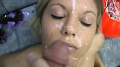 Blonde Bukkake Amateur Drenched In Facial Cumshot