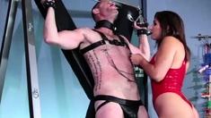 Fetish dominatrix strapon anal fuck with slave