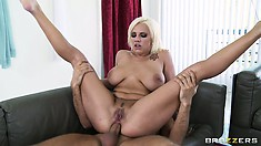 Hot Blonde Cop Sucks Again And Then Gets On For A Cock Ride In The Ass