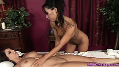 Hot Asian babe rubs and caresses for a sweet girly massage treatment