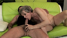 Plumper granny, Aliz, bounces her big saggy tits as she rides his cock in her hairy bush