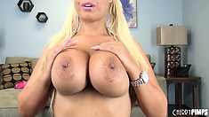 Bridgette B loves to play with her huge hooters and show off her cute butt