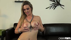 Abbey Brooks looks lovely in her sexy thigh high stockings with a vibrator