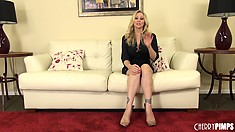 Marvelous blonde Julia Ann sits on the couch sharing her fantasies and desires