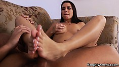 Ann Marie Rios takes his cock in her hot twat the slips it between her sexy feet