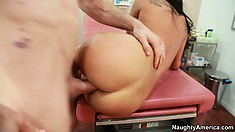 The Asian hottie screams with delight as he drives his cock in and out of her twat
