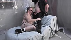 Fat As Hell Bitch In A Jock-strap Gets Down To Play With A Hunk
