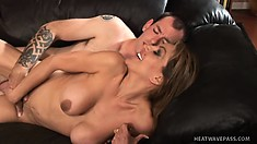 Busty brunette milf with a hot ass Sophia is in need of a hard dick banging her twat