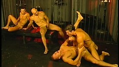 Hardcore ass fucking action down in the dungeon and the cum flies freely