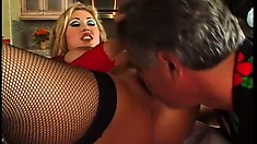 Buxom milf Kianna Dior shaves her peach and enjoys a hard fucking in the kitchen