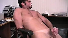 Damian puts his hot body on display and jerks his dick until he cums on himself