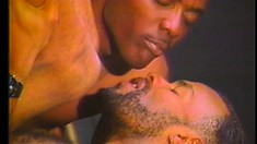 Young black cocksucker has two studs taking turns banging his ass on the pool table