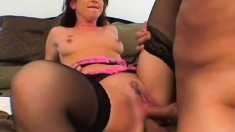 Decent girl with awesome body gets two dicks dipped in her holes