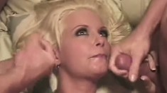 Blonde Bonnie gets her pussy wrecked by a couple of giant cocks