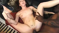 Appealing ginger-head actress likes getting big dick in her small mouth