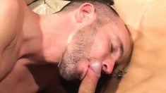 Leather fetish hunks plug their butts with toys before some real dick