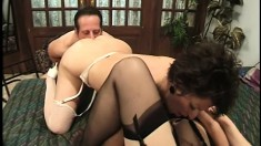 Lustful mature ladies please each other's pussies and share a big cock