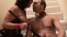 Kinky milf jumps on top of her slave and fucks his big rod with desire