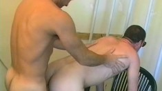 Two lustful cops blow each other's long cocks and engage in anal sex
