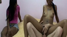 Roxie Ray blows her white lover and gets drilled while another babe watches